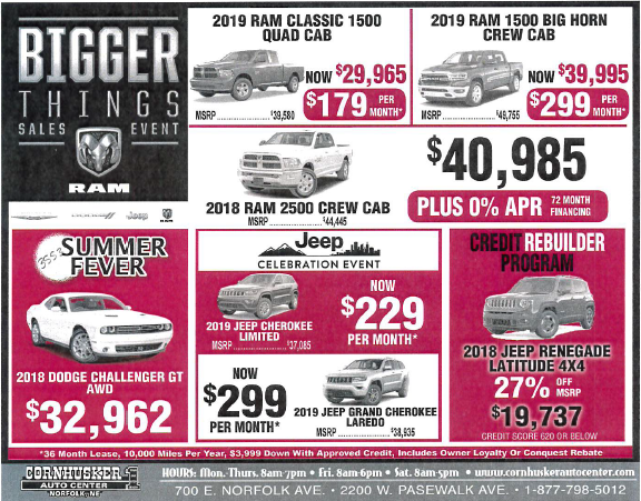 Deals on vehicles at Cornhusker Auto Center