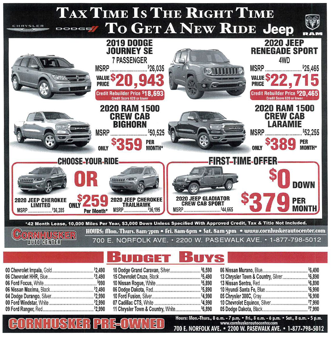President's Day - Chrysler Dodge Jeep RAM specials